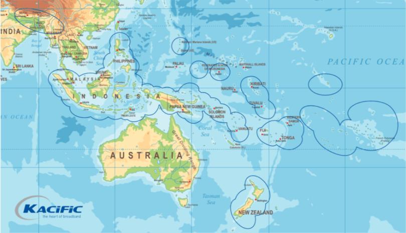 Kacific-1 coverage map. Credit: Kacific.