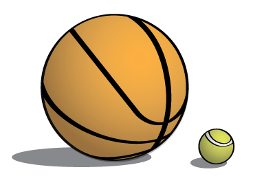 Basketball and tennis ball