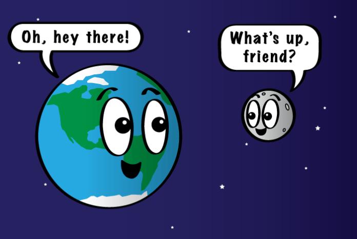 Phim hoạt hình Mặt trăng và Trái đất nói lời chào với nhau.