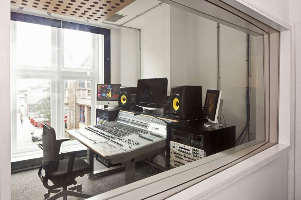 Image of a sound-proof recording booth at ACM Guilford