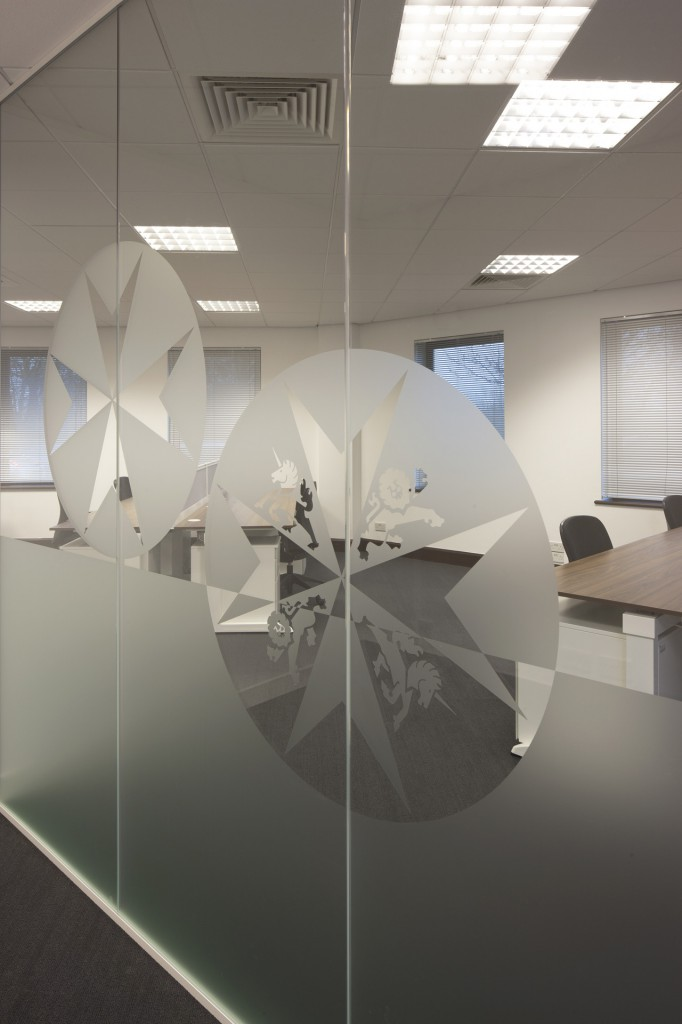 Image of St Johns Trust partition glass decal branding - make your office wall partitions more flexible