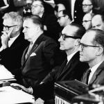 Seamans, Webb, Mueller, and Apollo Program Director Phillips testify before a Senate hearing on the Apollo accident