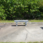 Memorial benches on the edge of launch pad 34