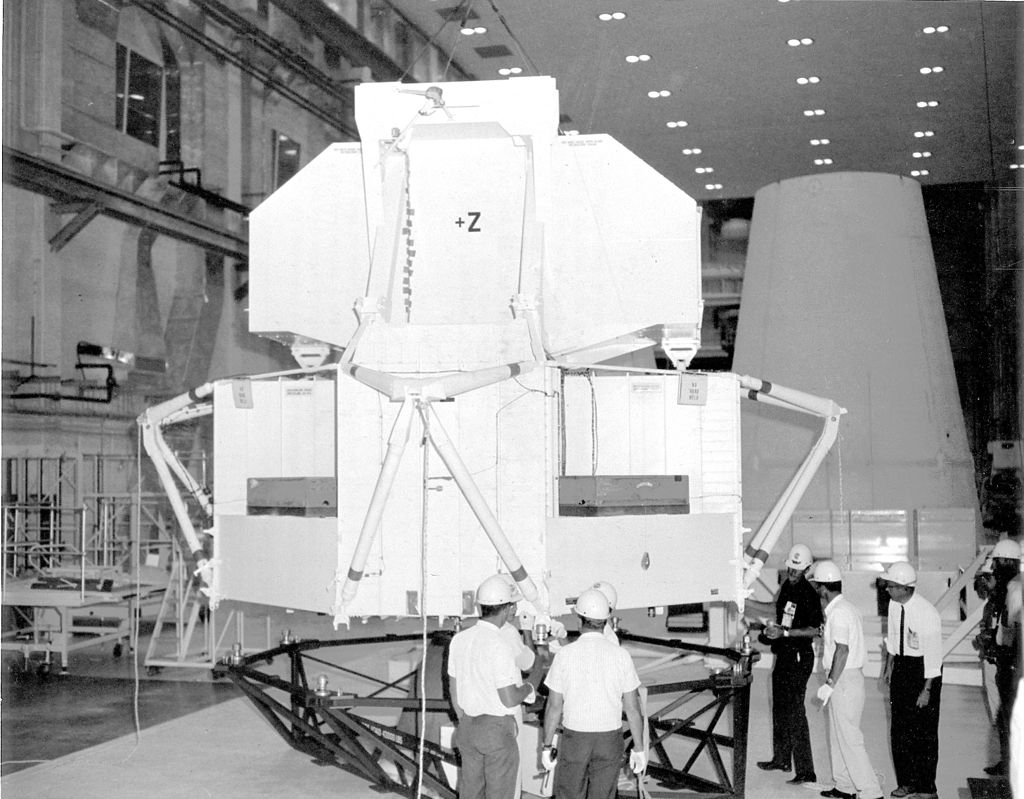 Saturn V AS-502 (Apollo 6) - 4.4.1968 1-The-Lunar-Module-Test-Article-LTA-2R-is-being-moved-for-mating-with-the-spacecraft-Lunar-Module-Adapter