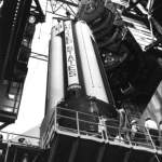 AS-205's First Stage on the pedestal