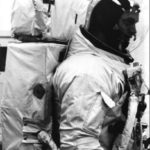 Schweickart in the spacesuit with the backpack