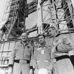 Apollo 10 crew in front of the launch pad