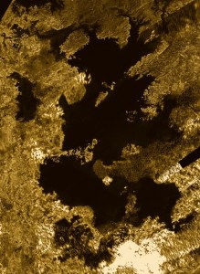 This mosaic from NASA's Cassini mission shows the most complete view of Titan's largest liquid hydrocarbon sea in dark browns and black.