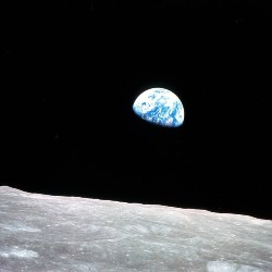 The Earth in space, above the horizon of the moon, pictured during the Apollo 8 mission.