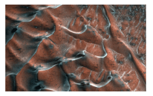 A series of dark-toned polygonal patterns highlight the textures of the frosty barchan sand dunes of Mars (depicted by lighter icy areas).
