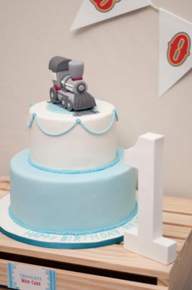 Boys Train Themed Birthday Cake Idea