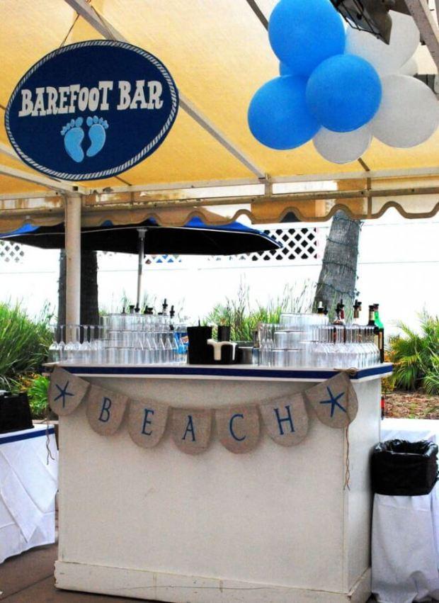 Boys Beach Themed Birthday Party Drink Station