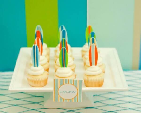 Boys Summer Surf Party Cupcakes