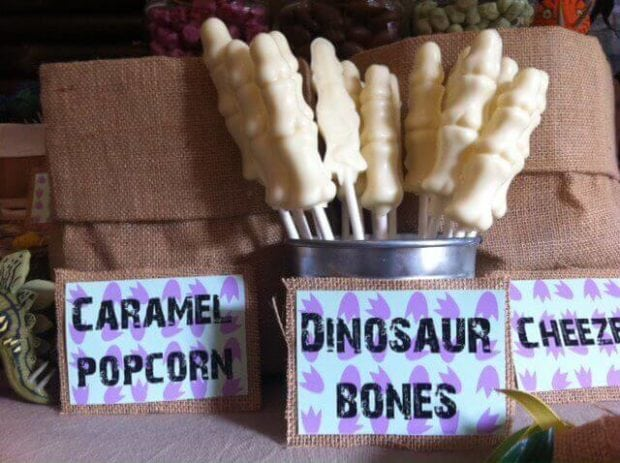 Boys Dinosaur Themed Birthday Party Candy Bone Ideas