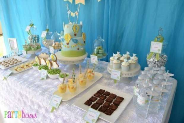 Hot Air Balloon Themed Baby Shower Party Dessert Table