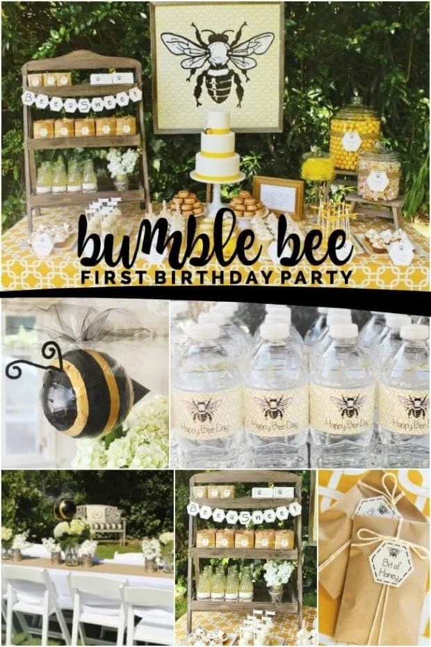 bee themed first birthday boy party