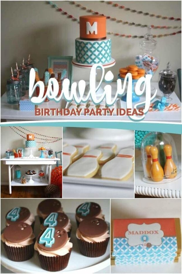 Boys Bowling Temed Birthday Party