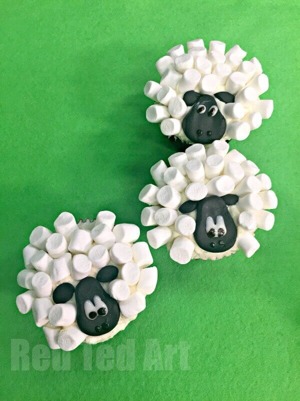 Easy Sheep Cupcakes made from Marshmallows
