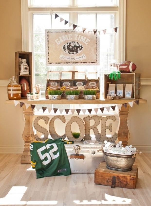 vintage football desserts table ideas