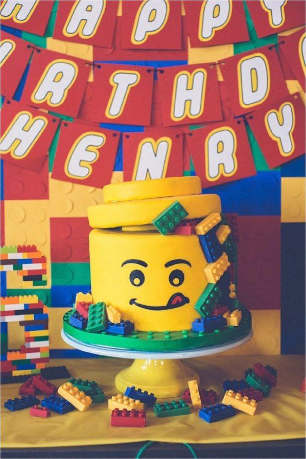 Boy's Lego Birthday Party Cake