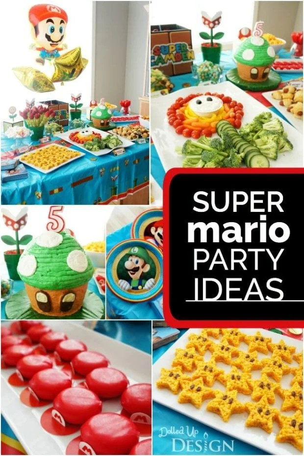 Game On A Boy S Super Mario Party Spaceships And Laser Beams