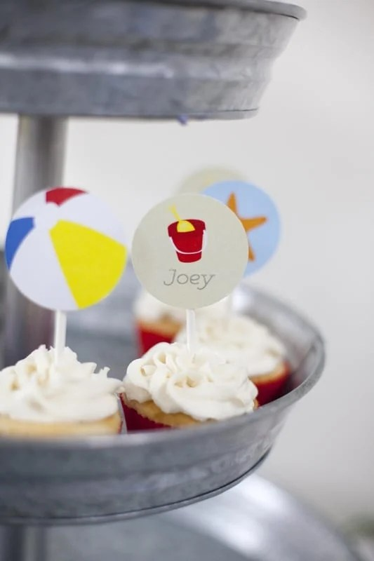 Cupcakes for a Boy's Beach Birthday Party