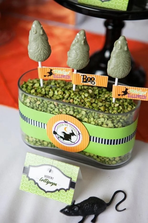 Witch Themed Halloween Party Candy Pop Ideas