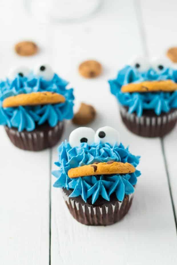 three cookie monster cupcakes