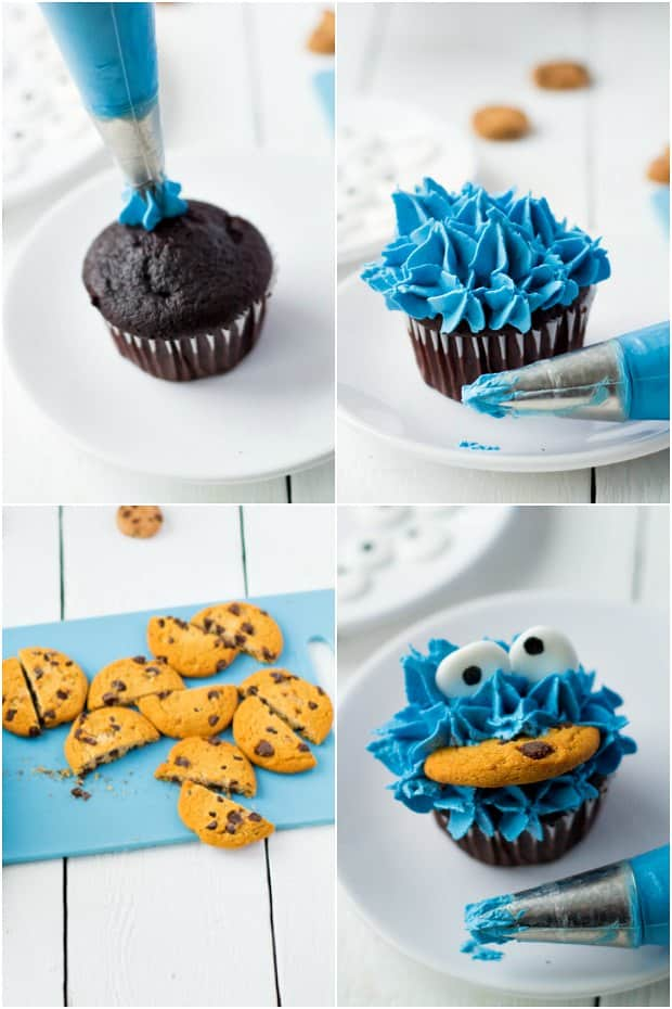 photo collage showing steps of how to make cookie monster cupcakes