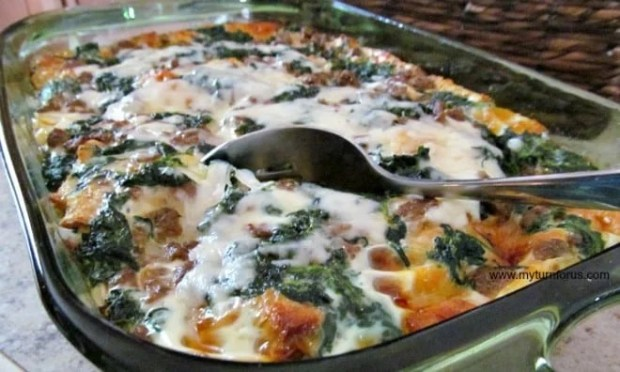 Overnight Breakfast Casserold with Sausage and Spinach
