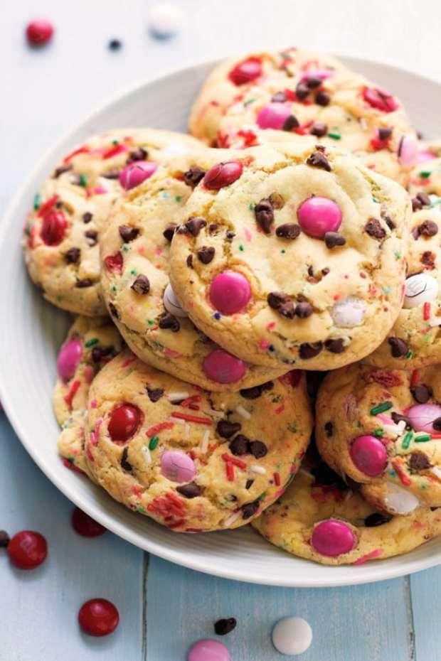 M&Ms Cake Batter Cookies