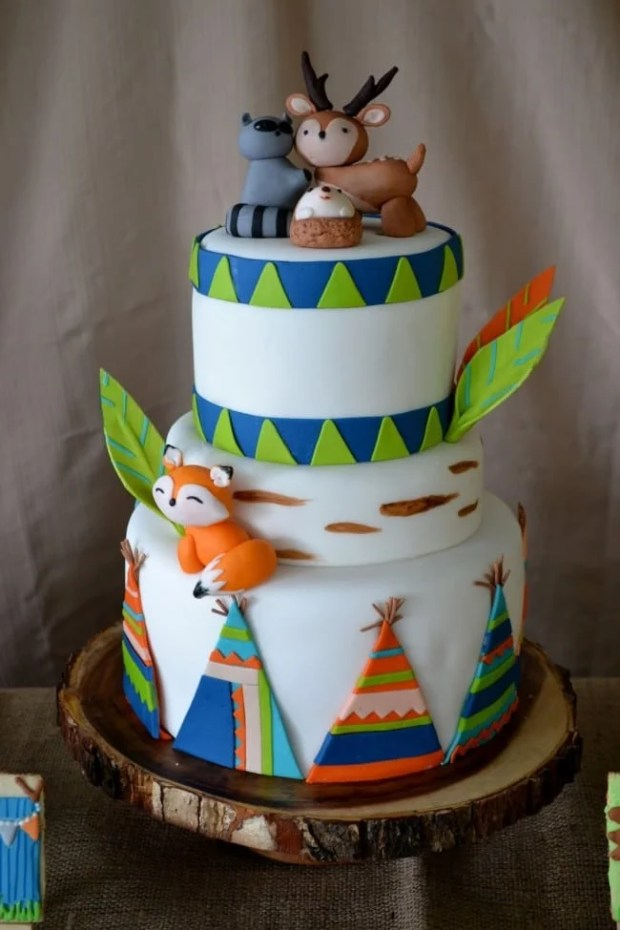 Boys Woodland Camping Themed Party Cake