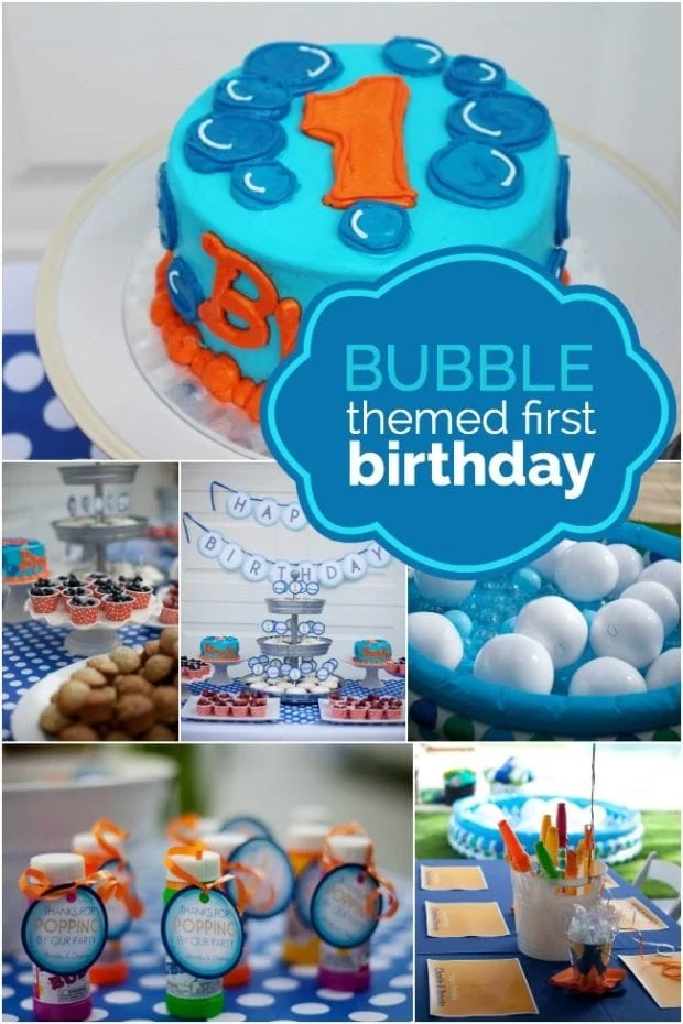 A Bubble Themed First Birthday Spaceships And Laser Beams