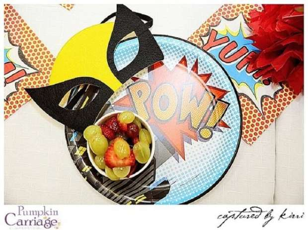 Boys Superhero themed birthday party table setting ideas