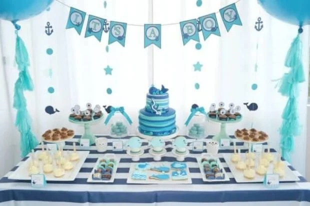 Boys Whale Baby Shower Dessert Table Ideas