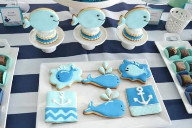 Boys Whale Baby Shower Party Food Cookie Ideas
