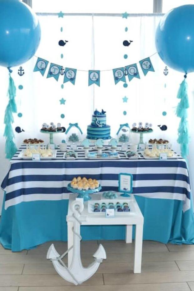 Boys Whale Themed Baby Shower Dessert Table
