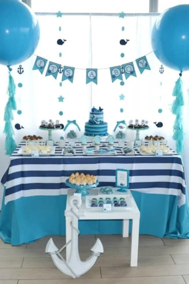 Boys Whale Themed Baby Shower Dessert Table
