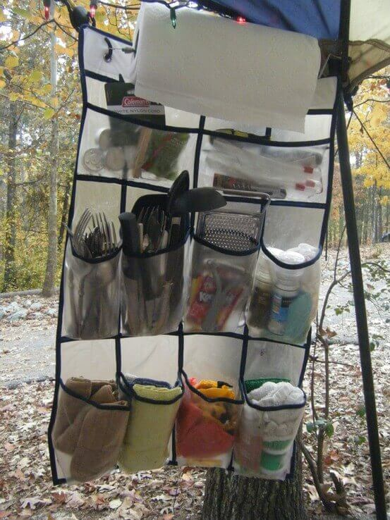 Use a shoe organizer to store and organize your camping kitchen.