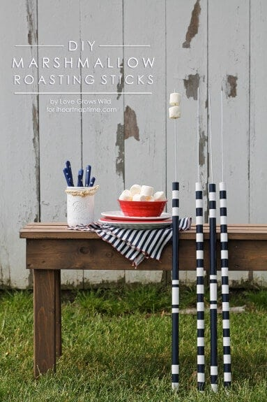 No more burns over the camp fire with these easy DIY marshmallow roasting sticks, plus paint them in fun patterns for easy identification.