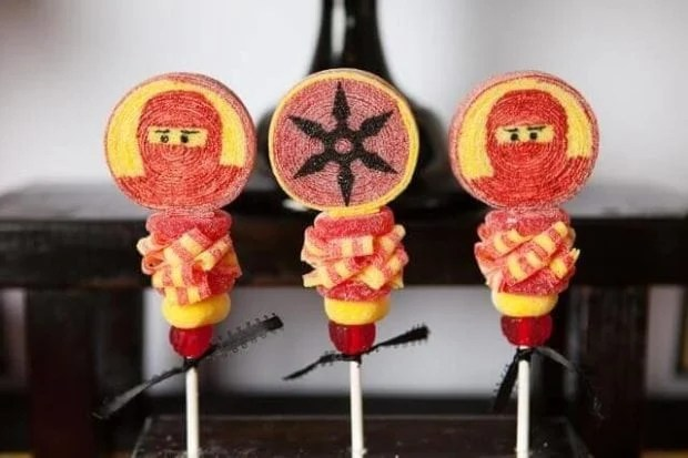 These delightful Ninjago Candy Kabobs are sure to impress party goers.