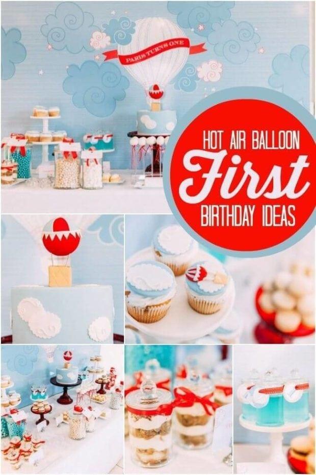 Boy's Hot Air Balloon 1st Birthday