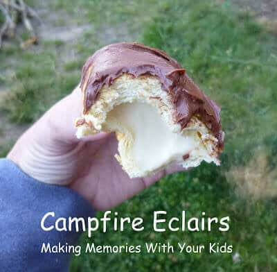 Campfire eclairs are delicious tasty campfire treats!