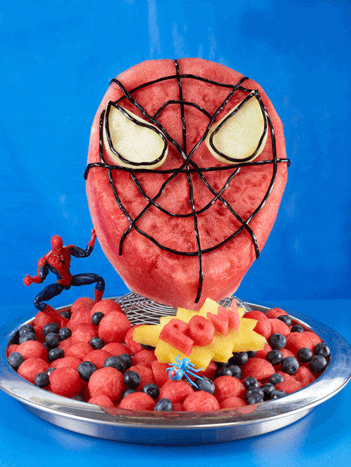 This healthy watermelon Spiderman treat is perfect for a summer birthday party.
