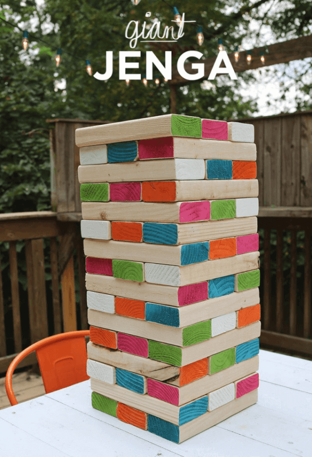 Giant Jenga is a great outdoor summer game for everyone.