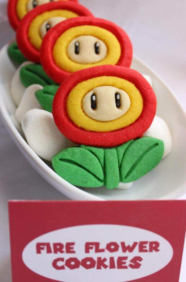 Adorable Fire Flower Cookies are delightful Super Mario treats or Mario Brothers party favors.