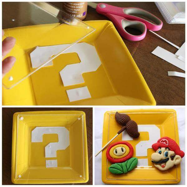 These fun Super Mario Bros plates are easy to make and perfect for the theme.