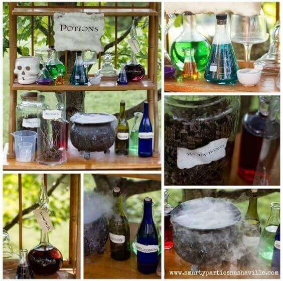 These DIY Potions Decorations are ideal props for a Harry Potter party.