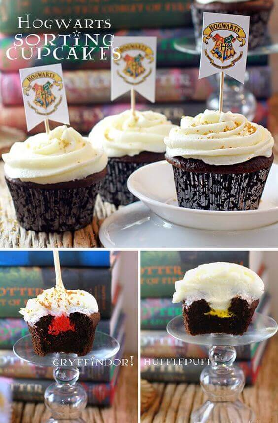 If you can't have the sorting hat at your Harry Potter party, try making these Hogwarts Sorting Cupcakes!