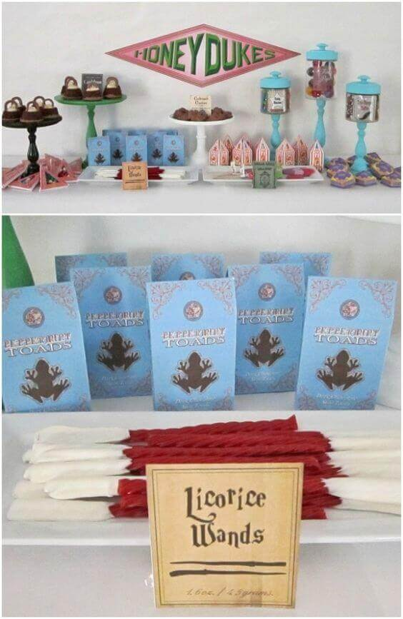 For the ultimate treat, set up your own DIY Honeydukes Sweet Shop for a perfect Harry Potter dessert table.